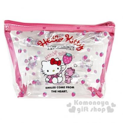 〔小禮堂〕Hello Kitty 船形透明旅行盥洗包兩件組《粉》空瓶.空盒.化妝包