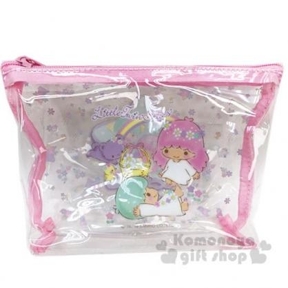 〔小禮堂〕雙子星 船形透明旅行盥洗包兩件組《粉》空瓶.空盒.化妝包