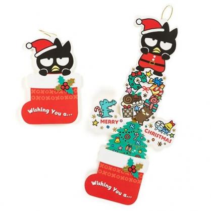 〔小禮堂〕酷企鵝 立體襪子造型聖誕卡片《綠》耶誕賀卡.節慶卡