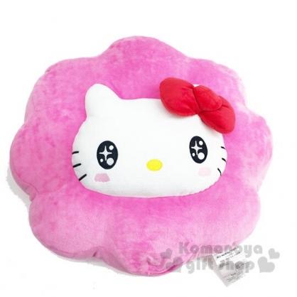 〔小禮堂〕Hello Kitty 花朵大臉造型抱枕靠墊《桃白》靠枕.絨毛玩偶