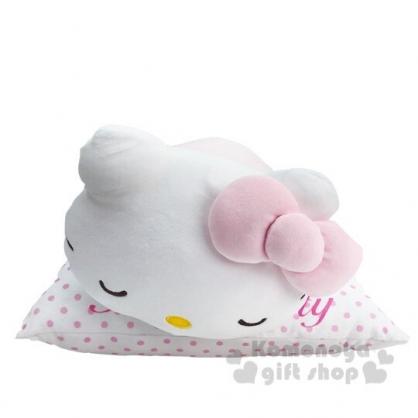 〔小禮堂〕Hello Kitty 絨毛玩偶娃娃造型暖手抱枕靠墊《粉白》靠枕.午休枕
