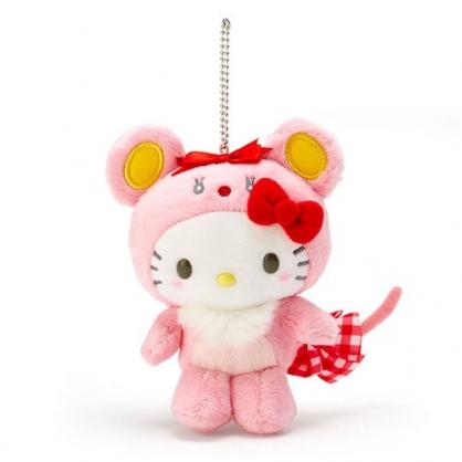 〔小禮堂〕Hello Kitty 生肖絨毛玩偶娃娃吊飾《粉》生肖掛飾.鑰匙圈.2020新春特輯