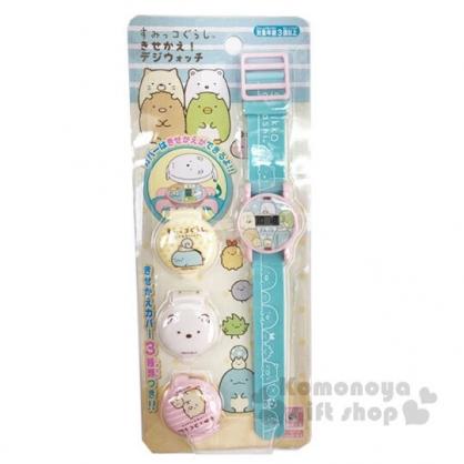〔小禮堂〕角落生物 可換蓋矽膠錶帶兒童手錶《粉綠.抱頭》休閒錶.腕錶.電子錶