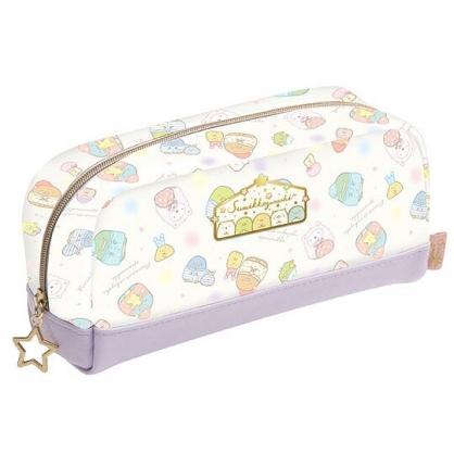 〔小禮堂〕角落生物 亮粉皮質拉鍊筆袋《紫白.睡衣》收納包.化妝包.鉛筆盒