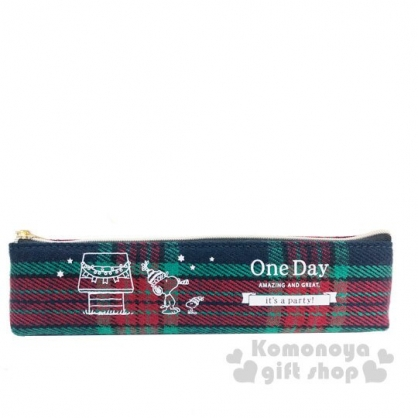 〔小禮堂〕史努比  針織拉鍊細筆袋《綠紅.躺屋頂》鉛筆盒.化妝包.收納包