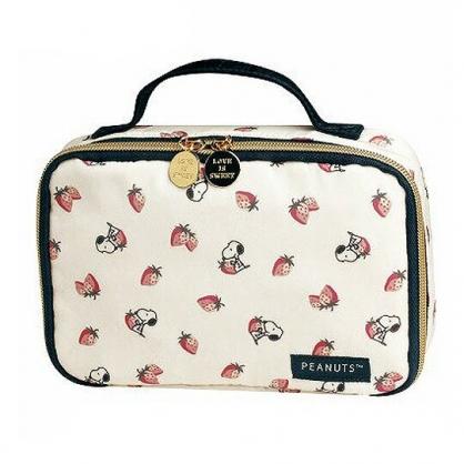 〔小禮堂〕史努比 尼龍方形拉鍊盥洗收納包《米灰.草莓》手提盥洗包.化妝包