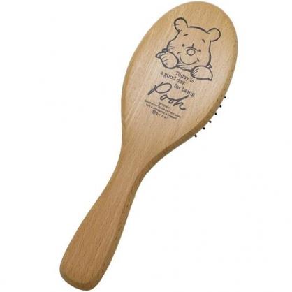 〔小禮堂〕迪士尼 小熊維尼 木質圓頭氣墊手握梳《棕.大臉》氣墊梳.直梳