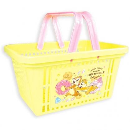 〔小禮堂〕迪士尼 奇奇蒂蒂 塑膠手提置物籃《黃.甜甜圈》塑膠籃.提籃.菜籃
