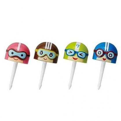 〔小禮堂〕日本TORUNE 造型塑膠食物裝飾叉組《4入.藍綠.賽車》甜點叉.水果叉.食物叉
