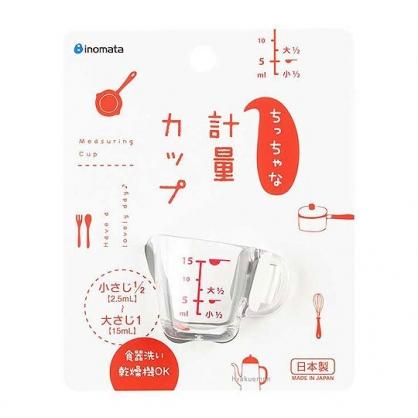 〔小禮堂〕日本INOMATA 日製迷你單耳透明塑膠量杯《紅白》15ml.調味匙.糖漿罐