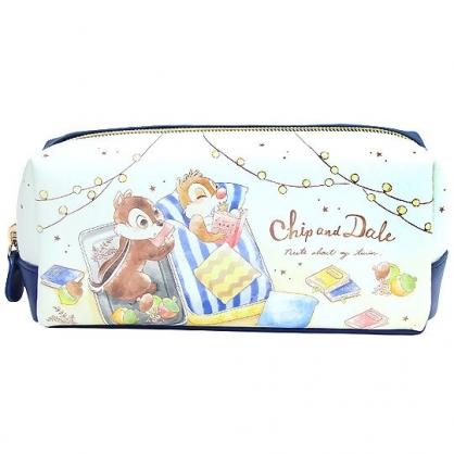 〔小禮堂〕迪士尼 奇奇蒂蒂 皮質拉鍊筆袋《藍白.看書》收納包.化妝包.鉛筆盒