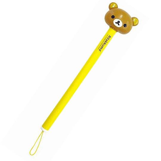〔小禮堂〕懶懶熊 拉拉熊 日製造型矽膠按摩槌棒《棕黃.大臉》不求人.舒壓搥