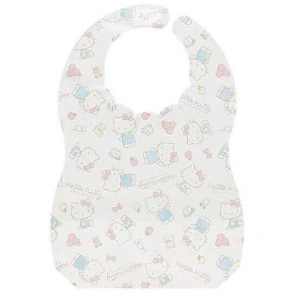 〔小禮堂〕Hello Kitty 嬰兒不織布拋棄式圍兜《10入.白粉.蘋果》口水圍兜.口水巾