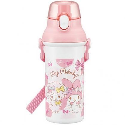 〔小禮堂〕美樂蒂 日製直飲式水壺附背帶《粉白.蝴蝶結》480ml.水瓶.兒童水壺