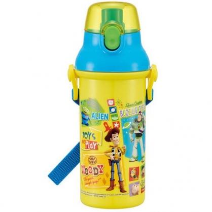 〔小禮堂〕迪士尼 玩具總動員 日製直飲式水壺附背帶《黃藍.角色介紹》480ml.水瓶.兒童水壺