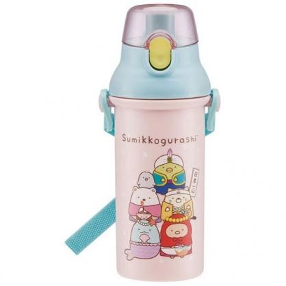 〔小禮堂〕角落生物 日製直飲式水壺附背帶《粉綠.變裝》480ml.水瓶.兒童水壺