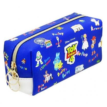 〔小禮堂〕迪士尼 玩具總動員4 皮質拉鍊筆袋《深藍.角色滿版》收納包.化妝包.鉛筆盒