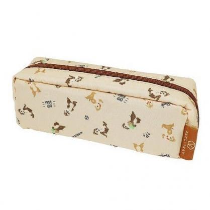 〔小禮堂〕迪士尼 奇奇蒂蒂 尼龍拉鍊筆袋《棕.抱松果》收納包.化妝包.鉛筆盒