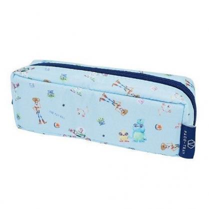 〔小禮堂〕迪士尼 玩具總動員 尼龍拉鍊筆袋《藍.角色滿版》收納包.化妝包.鉛筆盒