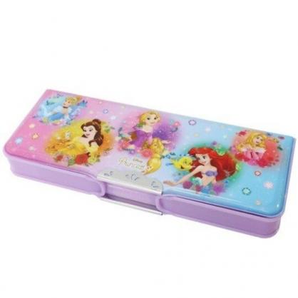 〔小禮堂〕迪士尼 公主 雙開多功能鉛筆盒《紫.圓框》學童文具.筆袋