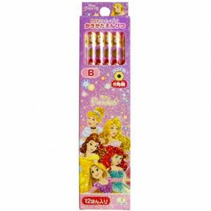 〔小禮堂〕迪士尼 公主 日製六角鉛筆組《12入.紫.鑽石》B.學童文具