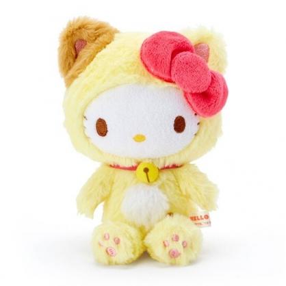 〔小禮堂〕Hello Kitty 貓裝沙包絨毛玩偶娃娃《黃白》沙包玩具.擺飾