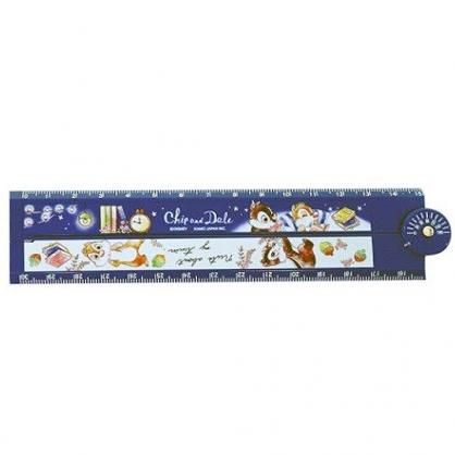 〔小禮堂〕迪士尼 奇奇蒂蒂 塑膠角度折疊尺《深藍.看書》30cm.直尺.量尺.學童文具