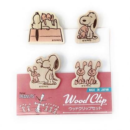〔小禮堂〕史努比 日製造型木質夾子組《5入.粉棕.兔子》文具夾.木夾.事務用品