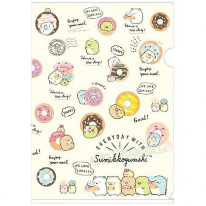 〔小禮堂〕角落生物 日製L型文件夾《A4.黃.甜甜圈》L夾.資料夾.檔案夾