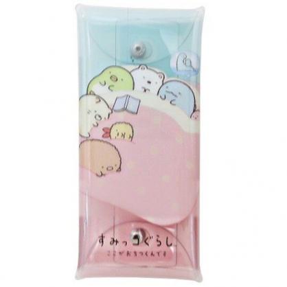 〔小禮堂〕角落生物 防水透明扁平扣式筆袋《粉藍.睡覺》收納包.化妝包.鉛筆盒