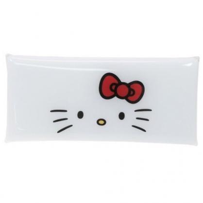 〔小禮堂〕Hello Kitty  防水透明扁平扣式筆袋《白.大臉》收納包.化妝包.鉛筆盒
