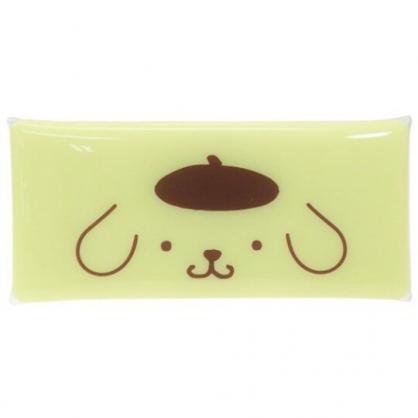 〔小禮堂〕布丁狗 防水透明扁平扣式筆袋《黃.大臉》收納包.化妝包.鉛筆盒