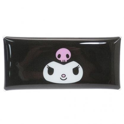〔小禮堂〕酷洛米 防水透明扁平扣式筆袋《黑.大臉》收納包.化妝包.鉛筆盒