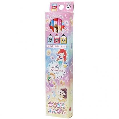 〔小禮堂〕迪士尼 公主 日製六角鉛筆組《12入.粉紫.Q版》學童文具