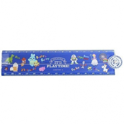 〔小禮堂〕迪士尼 玩具總動員4 塑膠角度折疊尺《深藍.角色介紹》30cm.直尺.量尺.學童文具
