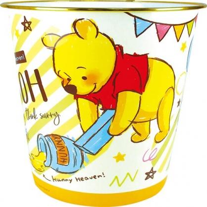 〔小禮堂〕迪士尼 小熊維尼 圓形無蓋垃圾桶《黃綠.塗鴉筆》書報桶.收納桶.置物桶