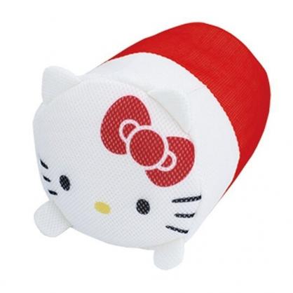 〔小禮堂〕Hello Kitty 大臉造型圓筒網狀洗衣袋《紅白》洗衣網袋.收納袋