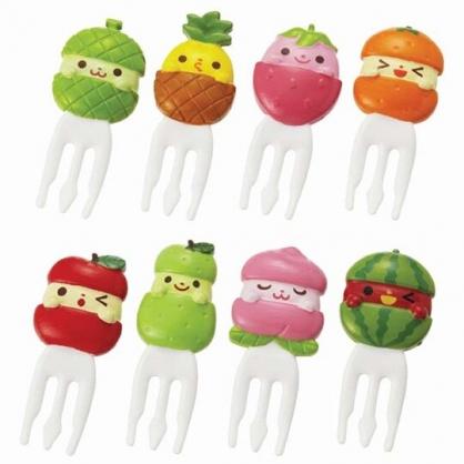 〔小禮堂〕日本TORUNE 水果造型塑膠食物裝飾叉組《8入.綠》甜點叉.水果叉.食物叉