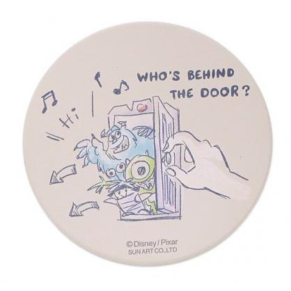 〔小禮堂〕迪士尼 怪獸大學 日製圓形陶瓷吸水杯墊《米綠.開門》止滑.防滑