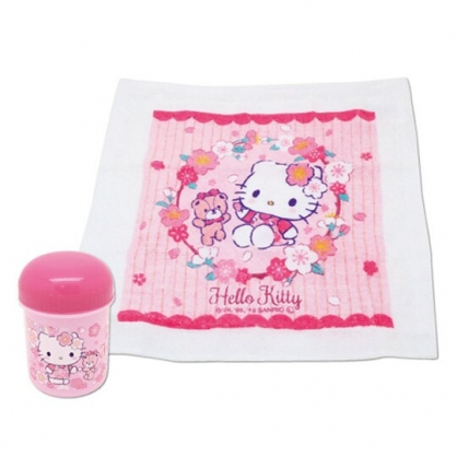 〔小禮堂〕Hello Kitty 純棉無捻紗方形毛巾附罐《粉.櫻花》30x30cm.手帕.置物罐