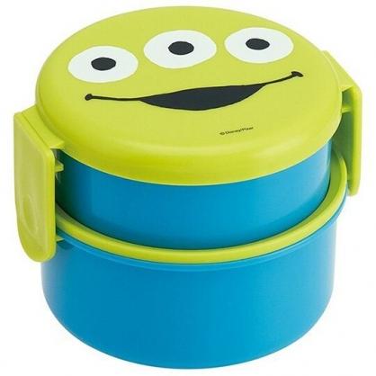 〔小禮堂〕迪士尼 三眼怪 日製圓形塑膠雙扣雙層便當盒《綠藍.大臉》500ml.保鮮盒.餐盒