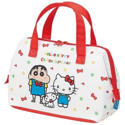 〔小禮堂〕Hello Kitty x 蠟筆小新 硬式支架尼龍保冷便當袋《紅白.吊帶褲》保冷袋.野餐袋.手提袋