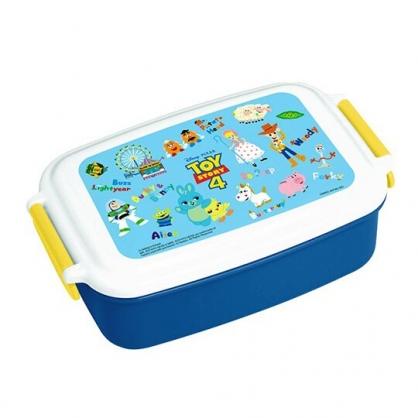 〔小禮堂〕迪士尼 玩具總動員4 日製方型雙扣便當盒《藍白.角色介紹》500ml.保鮮盒.食物盒