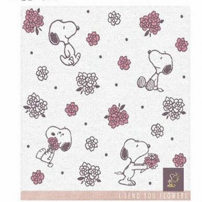 〔小禮堂〕史努比 純棉割絨小方巾《粉米.拿花》25x25cm.毛巾.手帕
