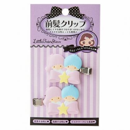 〔小禮堂〕雙子星 大臉造型塑膠鐵製髮夾組《2入.粉藍》瀏海夾.鴨嘴夾.髮飾