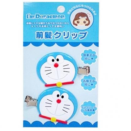 〔小禮堂〕哆啦A夢 大臉造型塑膠鐵製髮夾組《2入.藍白》瀏海夾.鴨嘴夾.髮飾