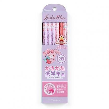 〔小禮堂〕蹦蹦兔 六角鉛筆組《12入.紫.草莓》2B.學童文具