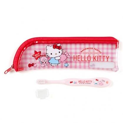 〔小禮堂〕Hello Kitty 兒童旅行牙刷附收納袋《粉.拿糖果》盥洗用品.旅行用品