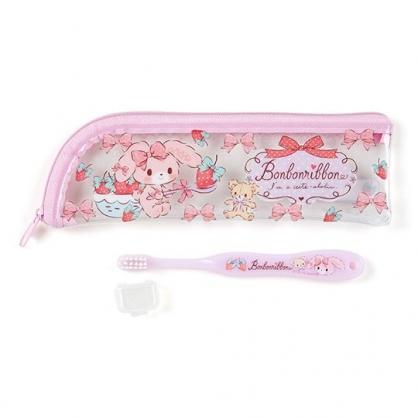 〔小禮堂〕蹦蹦兔 兒童旅行牙刷附收納袋《紫.草莓》盥洗用品.旅行用品
