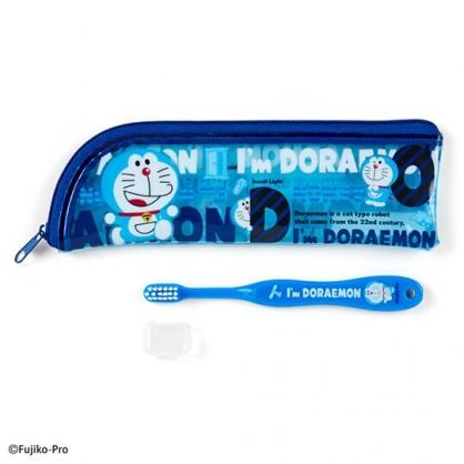 〔小禮堂〕哆啦A夢 兒童旅行牙刷附收納袋《藍.草莓》盥洗用品.旅行用品